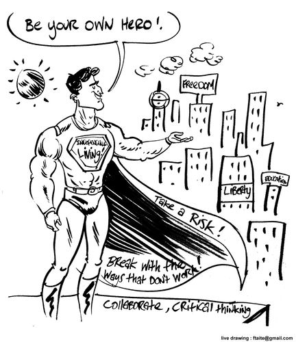 Cartoon of a superhero overlooking city