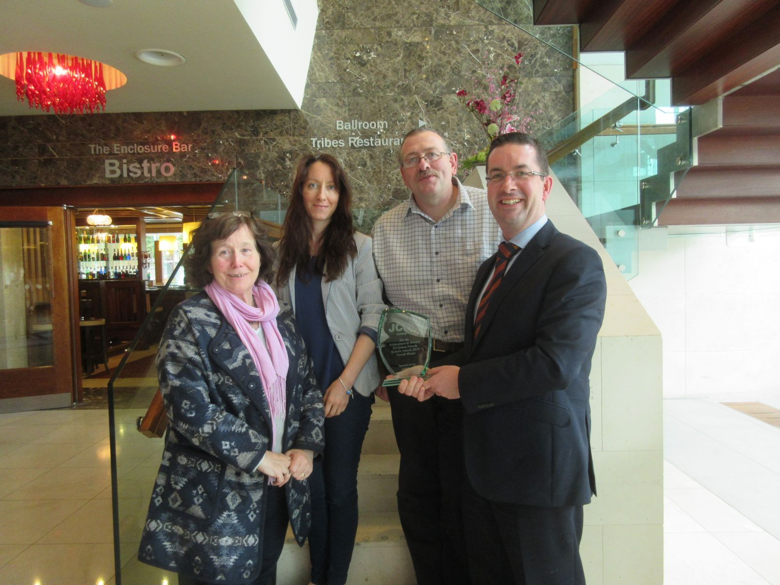 DFI congratulate the Clayton Hotel for winning an award for Disability Access in JCI Galway Friendly Business Awards 2015
