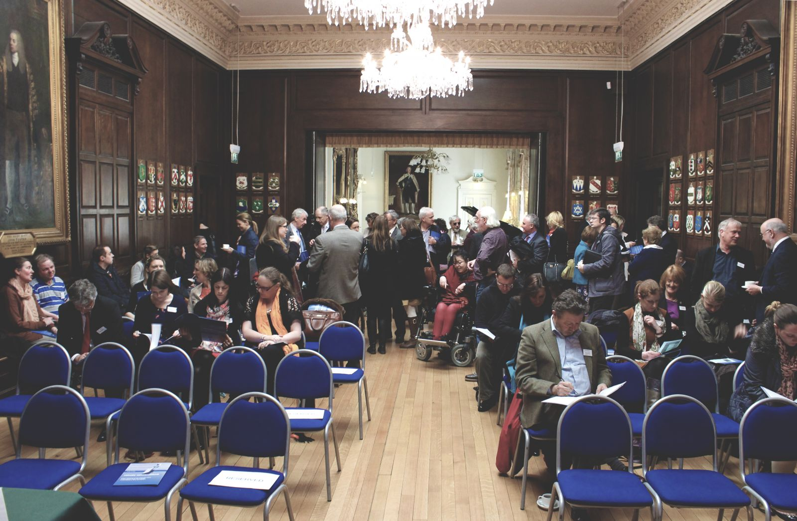 "Crowd scene from the launch in the Mansion house of Research: ""Living in the Community: Services and Supports for People with Disabilities."