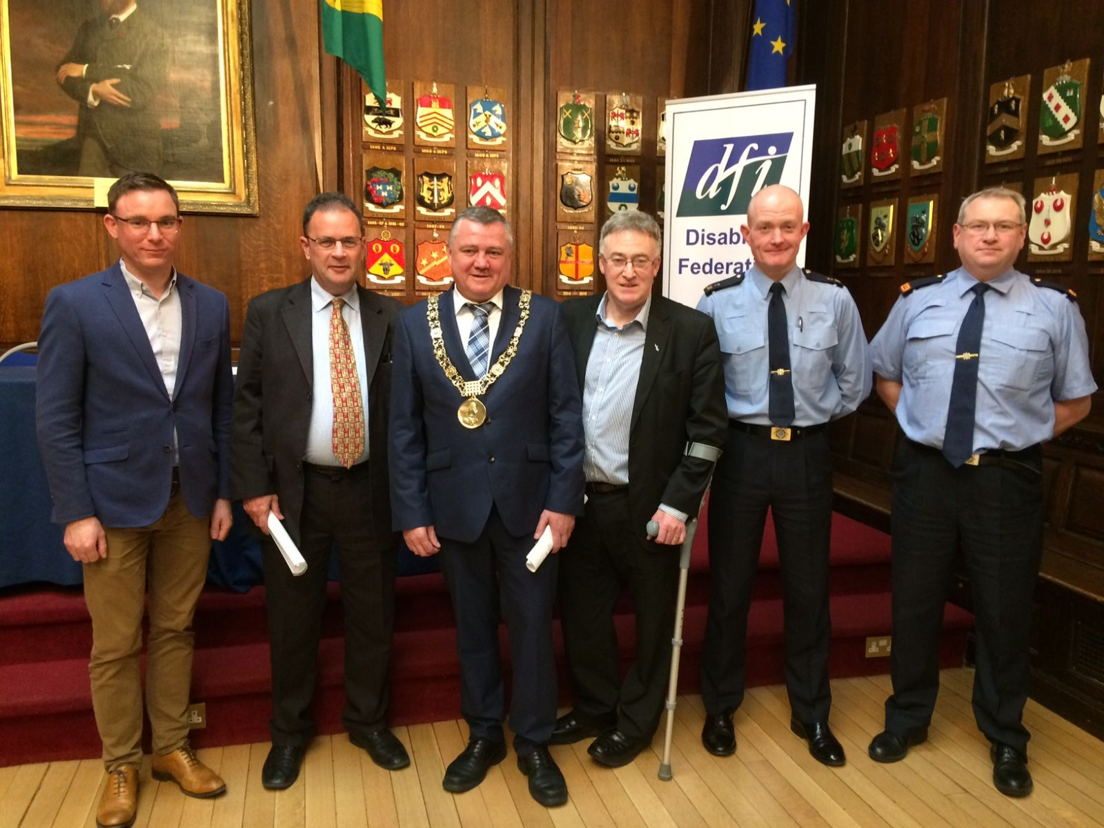 Pat Nestor, Accessibility Officer with Dublin City Council, Cllr Rory McGinley, Lord Mayor, Cllr Brendan Carr, Senator John Dolan, Sergeant Peter Woods and Inspector David Butler, DMR Office