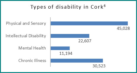 Types of disability in Cork - all info in previous table