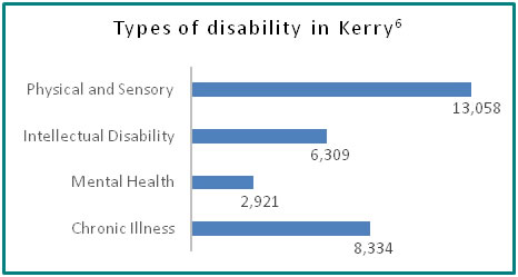 Types of disability in Kerry - all info in previous table