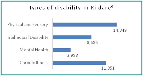 Types of disability in Kildare - all info in previous table