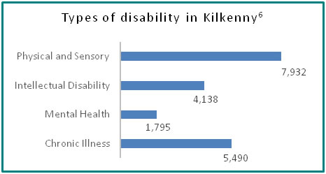 Types of disability in Kilkenny - all info in previous table