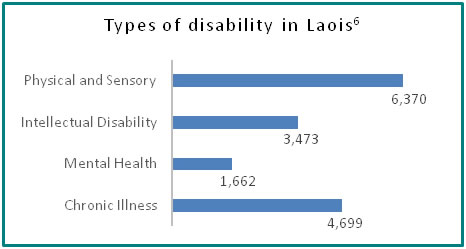Types of disability in Laois - all info in previous table