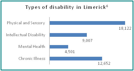 Types of disability in Limerick - all info in previous table
