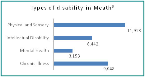Types of disability in Meath - all info in previous table