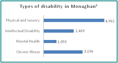 Types of disability in Monaghan - all info in previous table