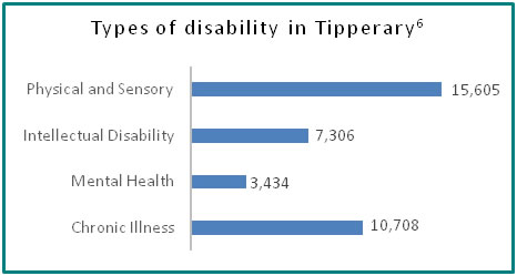 Types of disability in Tipperary - all info in previous table