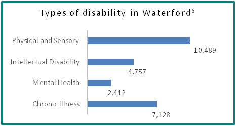 Types of disability in Waterford - all info in previous table