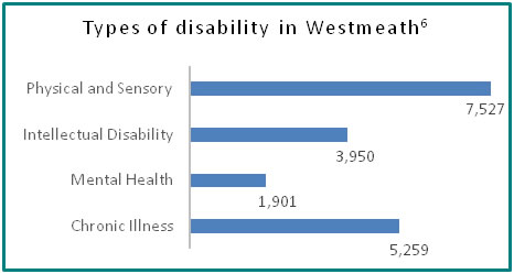 Types of disability in Westmeath - all info in previous table