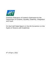 DFI Submission on the State's UN CRPD draft report